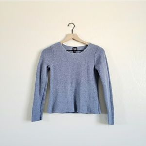 Eileen Fisher Blue Silk Cropped Stretchy Sweater